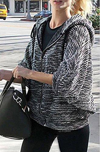 TOOGOO(R)Mujeres Nueva Moda Oblicuo la Raya de Borlas Envolturas Cabo Sueter Prendas de Punto-L-Negro