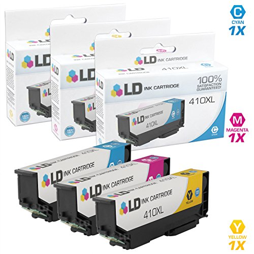LD © Remanufactured Epson 410 / 410XL / T410 Set of 3 High Yield Color Ink Cartridges (1 Cyan, 1 Magenta & 1 Yellow) for use in Expression XP-530, XP-630, XP-635, XP-640 and XP-830