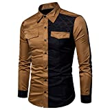 Big Promotion!! Men's Shirts  - Farjing Men's Long Sleeve Oxford Formal Casual Suits Slim Fit Blouse Top(L,Khaki)