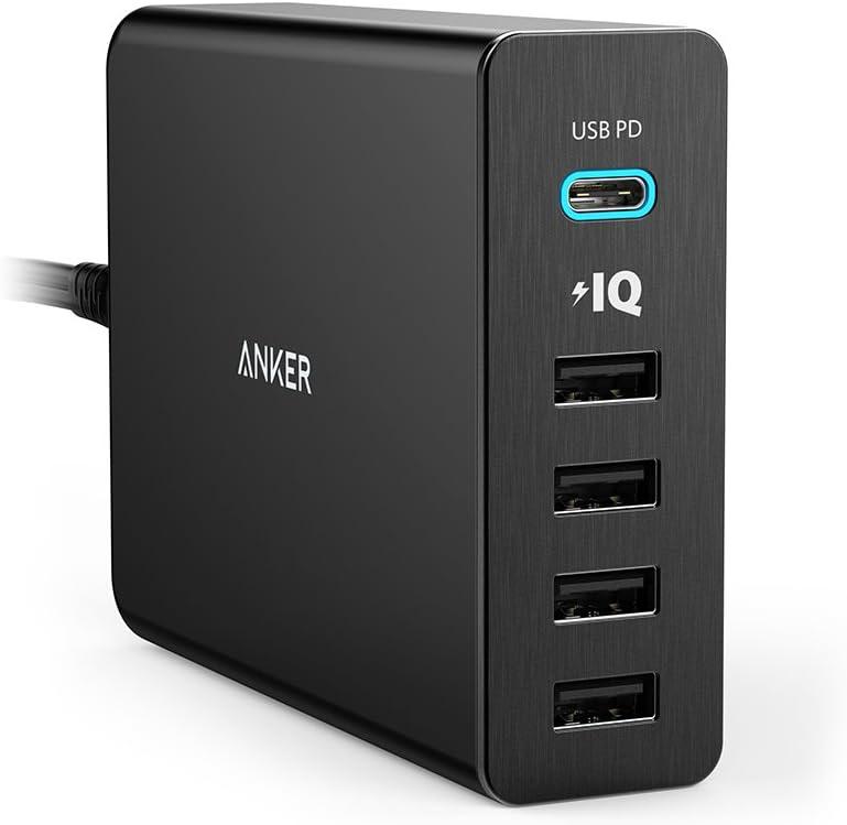 Anker PowerPort+ 5 USB-C Power Delivery (60W 5ポート USB-A & USB-C 急速充電器)【PSE認証済/PowerIQ搭載/PD対応】 MacBook/iPhone/iPad/Android 各種他対応 (ブラック)のサムネイル画像