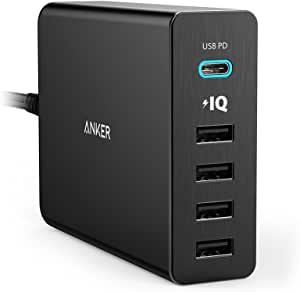 Anker USB Type-C, 5-Port 60W USB Wall Charger Powerport+ 5 USB-C with Power Delivery for Apple MacBook, Nexus 5X / 6P and Poweriq for iPhone, iPad, Samsung & More