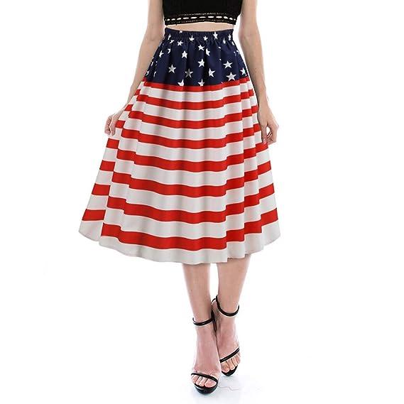 HCFKJ Faldas Mujer Cortas Mujeres De La Moda De La Bandera ...