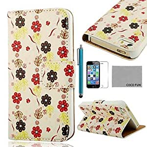 DD Flower White Pattern PU Leather Full Body Case with Film, Stand and Stylus for iPhone 5/5S