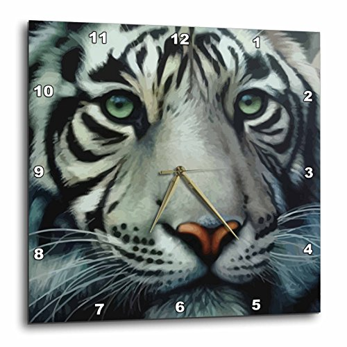 3dRose dpp_18953_2 White Tiger-Wall Clock, 13 by (Tiger Wall Mirror)