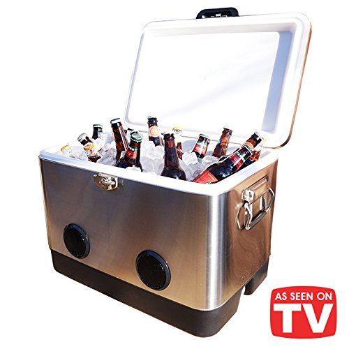 Stainless Steel Bluetooth - BREKX 54 Quart Double-Walled Stainless Steel Party Cooler with High-Powered Tailgating Bluetooth Speakers As Seen On TV - Works with iPhone, Android, Laptops