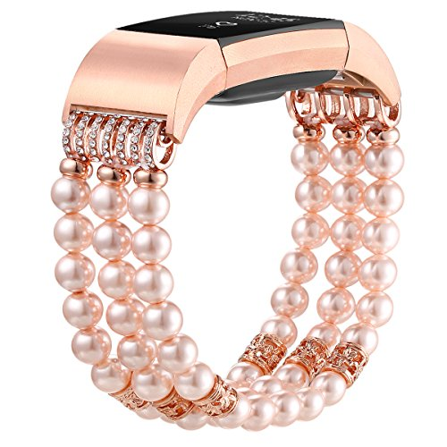 Fab Blush - fastgo Compatible for Fitbit Charge 2 Band, Jewelry Bracelet Bands for Women Dressy and Classy Breathable Sport Replacement Wrist Bands (Pearl Pink)
