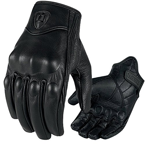 Motorcycle Riding Racing Bike Protective Armor Short Leather Gloves (Black Solid M)