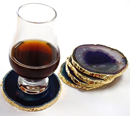 JIC Gem Golden Plated Dyed Mixed Color Agate Coasters 3-4'' set of 5 pcs Blue, Teal, Natural, Pink, Purple, with Rubber Bumper by JIC Gem (Image #1)