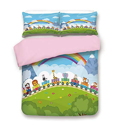- Pink Duvet Cover Set,FULL Size,Cartoon Railway Train with Various Animals and a Rainbow Mountains Clouds Trees,Decorative 3 Piece Bedding Set with 2 Pillow Sham,Best Gift For Girls Women,Multicolor
