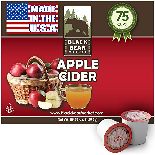 Black Bear Market 75 Count Hot Apple Cider For Keurig Type K Cups Brewers – Single Serve Cups Pods -