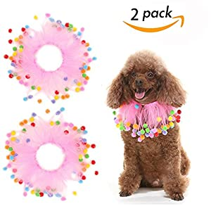 """SCENEREAL Small Birthday Fancy Dog Collars - 2 Pcs/set Decorative Pom Poms Elastic Pet Pink Soft Collars for Party Holiday Dress Costume Size Small 12"""""""