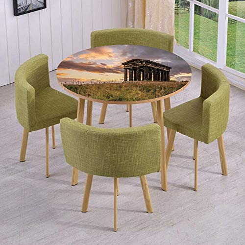 iPrint Round Table/Wall/Floor Decal Strikers/Removable/Ancient Greek Monument at Sunset Sky Landscape with Dark Scenery Europian Heritage Rurals/for Living Room/Kitchens/Office Decoration