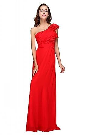 Festamo Red Elegant Floor-Length Chiffon Evening Dress Prom Dress Festive - Red -