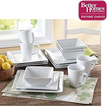 Better Homes and Gardens Square 16 Piece Porcelain Dinnerware Set & Amazon.com   Threshold Square Rim 16 Piece Dinnerware Set ...