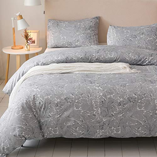 Colourful Snail 100-Percent Natural Washed Cotton Floral Printed Pattern Duvet Cover Set, Grey, Contemporary Style, Ultra Soft and Easy Care, Fade Resistant, King