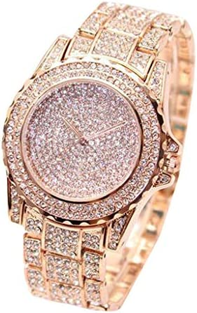 wSelio Round Luxury Women Watch,Crystal Rhinestone Diamond Watches, Stainless Steel Wristwatch (Rose Gold)