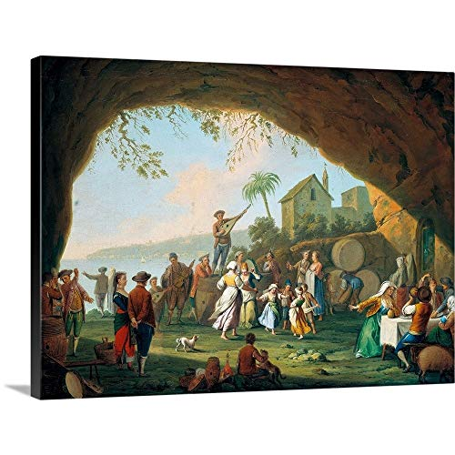 GREATBIGCANVAS Gallery-Wrapped Canvas Entitled Italian Women and Girls Dancing The Tarantella Near Posillipo, by Pietro Fabris, 18th c by Pietro Fabris 36