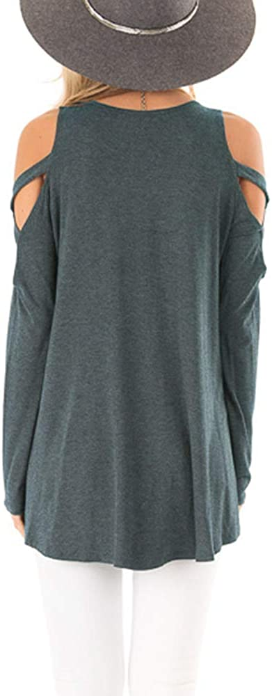 Huange Womens Criss Cross Shoulder Tops Crew Neck Long Sleeve Strappy Tunic Shirts Blouses Army Green, Small