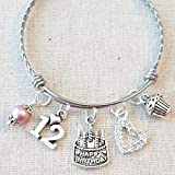 fa6fbba62 12th BIRTHDAY GIRL, 12th Birthday Charm Bracelet, Granddaughter Daughter  Gift Idea, Girls Twelfth