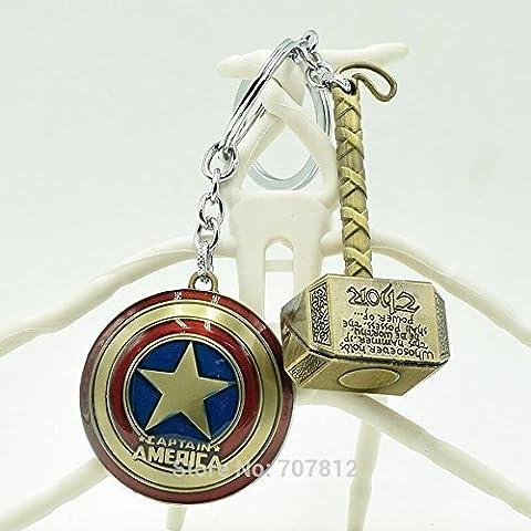 Captain America/Thor Shield/Hammer The Avengers Metal Keychains Pendant Key Rings 2 pcs/ set by Hammer