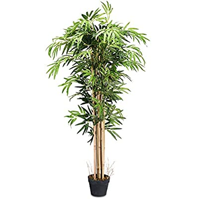 Goplus Fake Bamboo Tree Artificial Greenery Plants in Nursery Pot Decorative Trees for Home, Office, Lobby (5Ft Bamboo Tree)