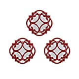 Bombay Company Set of 3 Swirl Wall Mirrors, Red