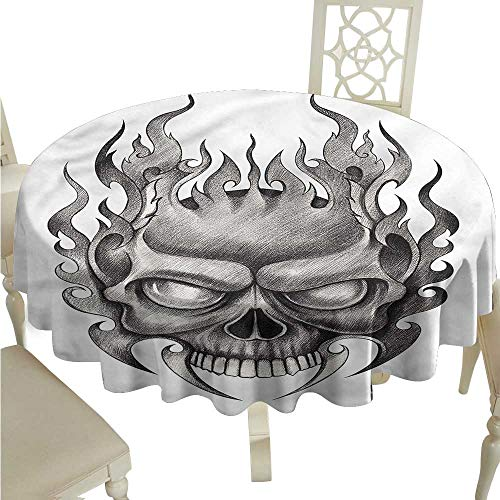 Round Tablecloth Cotton Tattoo,Horror Themed Skull Figure,Round Tablecloth]()