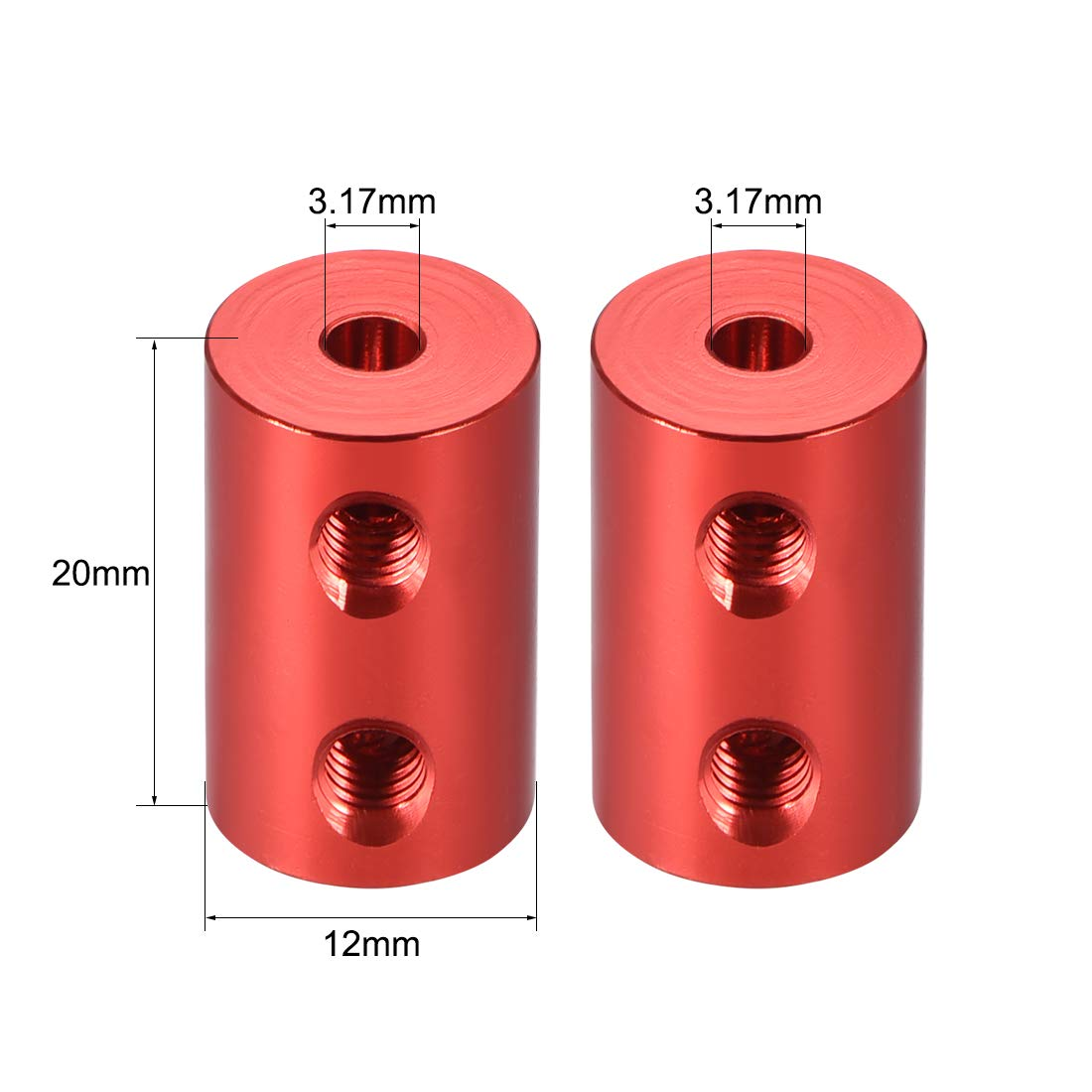 uxcell Shaft Coupling 3.17mm to 3.17mm Bore L20xD12 Robot Motor Wheel Rigid Coupler Connector Red