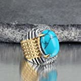 Fashion Stainless Steel Women Men Natural Blue Turquoise Stone Ring US Size 7-10 (7)