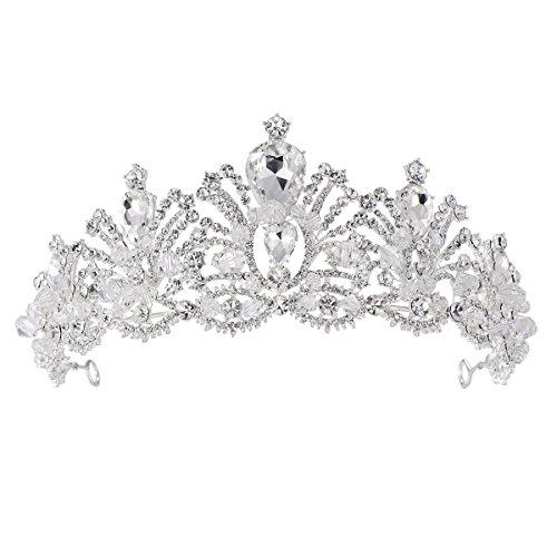FF Crystal Crown Bridal Princess Tiara Stylish Headband for Wedding Prom by FF