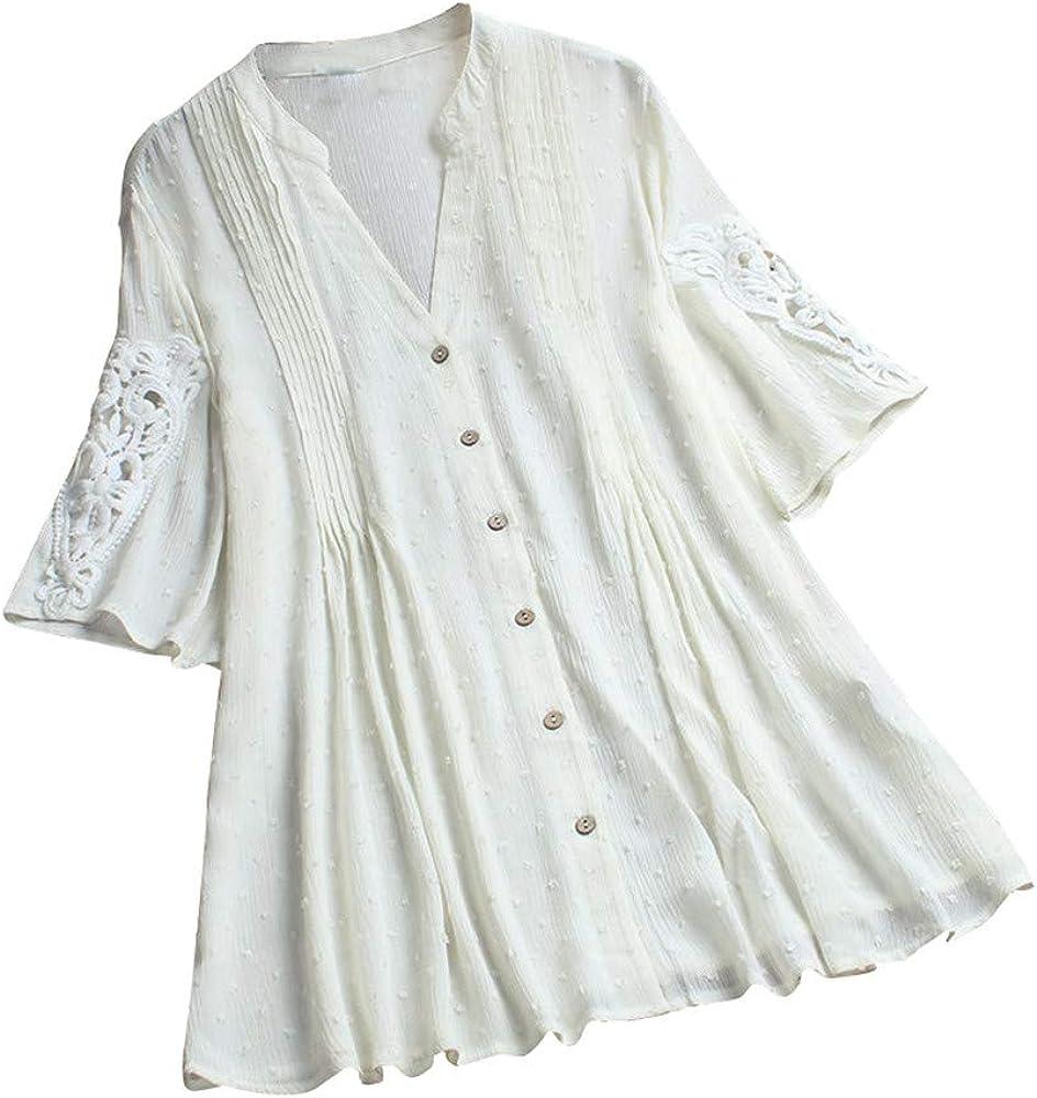 AG&T - Camisas de Mujer Sueltas, Tallas Grandes, Media Manga, Camisa de Bordado, Estilo Casual, Cuello en V, Camisa Blanco XXL: Amazon.es: Ropa y accesorios