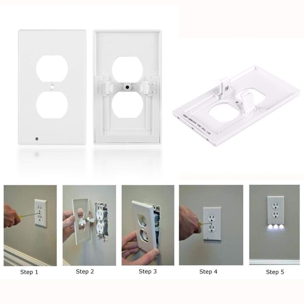6Pack Illuminated Wall Outlet Plate, LED Night Light Plug Cover with Sensor Inductive Guidelight Easy Snap On No Wire Or Battery Needed Hallway Bathroom Stairway Decor by Sunshine-Light (Image #4)