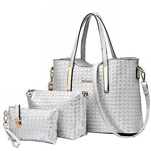 Silver Solid Handbag (Vincico174;Women 3 Piece Tote Bag Pu Leather Weave Handbag Shoulder Purse Bags (Silver))