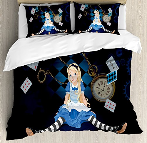 Ambesonne Alice in Wonderland Duvet Cover Set, Grown Size Alice Sitting with Flying Cards and Rose Checkered Cartoon, Decorative 3 Piece Bedding Set with 2 Pillow Shams, King Size, Dark Blue