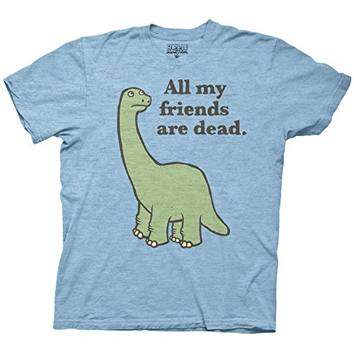 All My Friends Are Dead Dinosaur Men's T-shirt (Medium, Light Blue) -