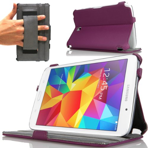 Navitech Purple Leather Hard Case Cover with Sleep/Wake Function Compatible with The Samsung Galaxy Tab 4 8.0 (Samsung 3 Galaxy Cased Tab)