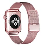 HILIMNY Compatible for Apple Watch Band 38mm 40mm, Stainless Steel Mesh Sport Wristband Loop with Adjustable Magnet Clasp for iWatch Series 1/2 / 3/4, Rose Gold