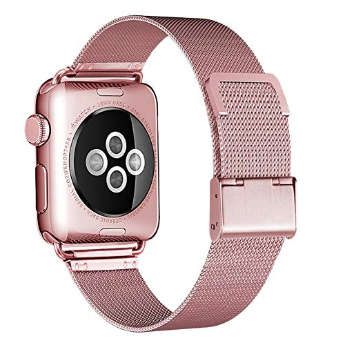 HILIMNY Compatible for Apple Watch Band 38mm 40mm, Stainless Steel Mesh Sport Wristband Loop with Adjustable Magnet Clasp for iWatch Series 1/2 / 3/4, Rose Gold ()
