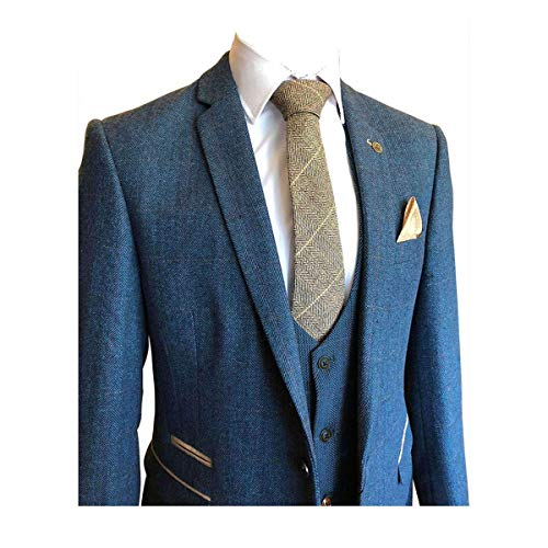 Classic 3 Pieces Vintage Blue Tweed Herringbone Wool Tailored Men Suits
