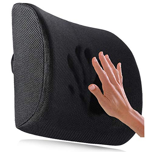 - Ergogo Memory Foam Lumbar Support Pillow - Travel Back Cushion Portable with 3D Mesh Cover - Black Ergonomic Seat Pad, Back Office Soft Rest - Orthopedic Protector for Lower Brace Pain Relief Massage