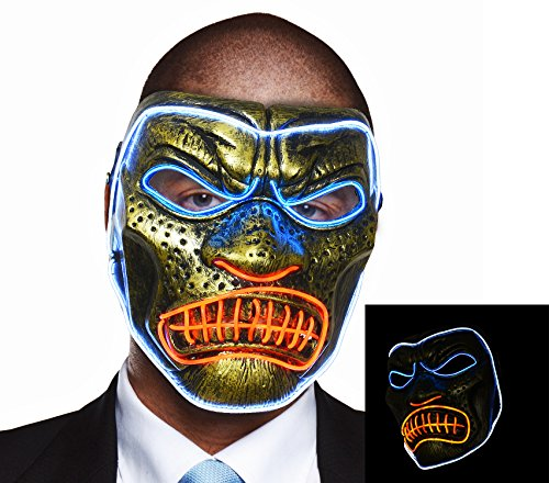 CeCe Light Up Gorilla Mask w/Scary Angry Face Glowing for Halloween Rave Costume Party