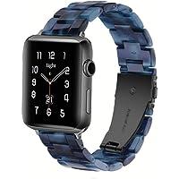 سوار ساعة Light Apple - سوار عصري من الراتنج iWatch متوافق مع مشبك نحاسي من الفولاذ المقاوم للصدأ لسلسلة ساعات Apple…