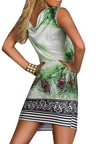 Delle Piuma Estivo Maniche Senza Vestiti Mini Jaycargogo Verde Stampa Scarni Donne Con 6zqwpxd4