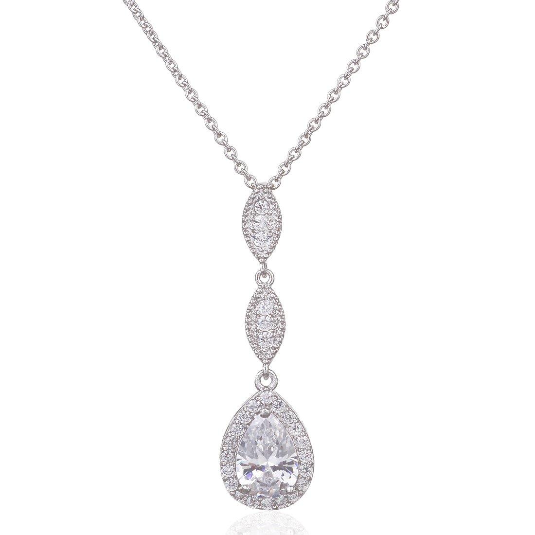 Wordless Love Teardrop Pear Shape CZ Necklace Pierced Earrings Women Wedding Jewelry Sets by Wordless Love (Image #5)