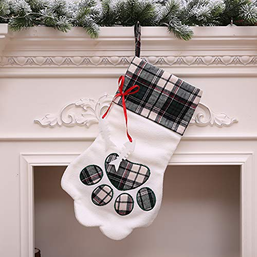 Hot Sale!DEESEE(TM)Merry Christmas Cat Claw Socks Plush Tree Hanging Gift Candy Large Socks Decorat (Blue) -