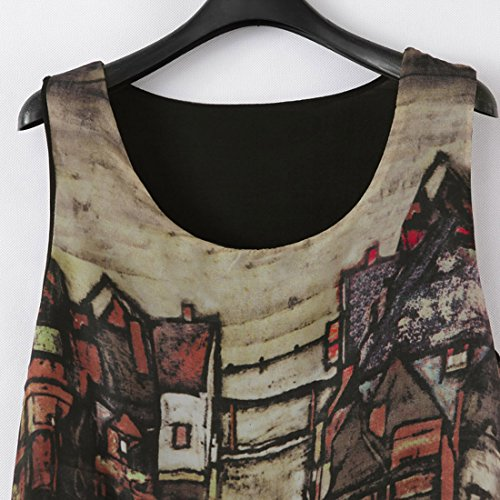JXLOULAN Sommer-Frauen Sleeveless gedruckte Weinlese schlitzte Chiffon- Strand-Kleid Sundresses