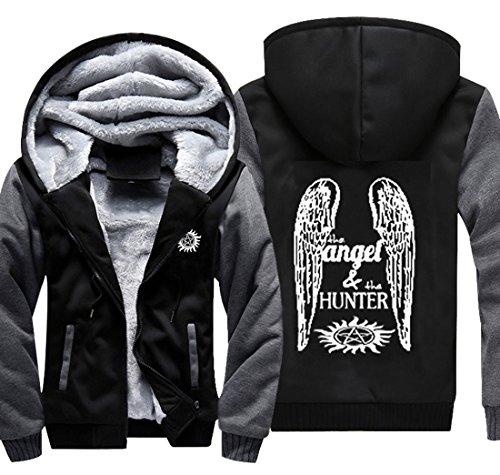 Xcoser Winchester Angel & Hunter Hoodie Anti Possession Symbol Sweatshirt Thick Jacket for Men