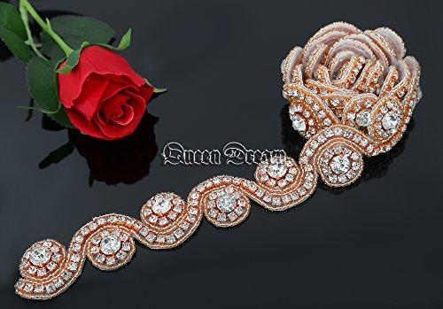 QueenDream Vintage Handmade 1 Yard Pearl Crystal Rhinestones Wedding Dress-Rose Gold (Crystal Bead Trim)