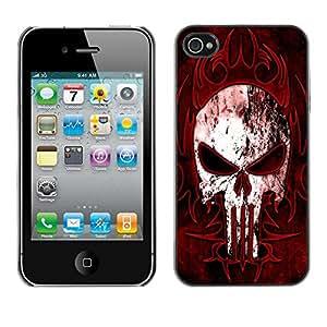 PIG - FOR iPhone 4 / 4S - Black Red Punisher Skull - Dise???¡¯???€????€????¡Ào para el caso de la cubierta de pl???&rsqu