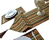 Yoovi Reversible Brown Striped Table Runner and Matching Placemats Set of 6 Cotton Linen Ethnic Tribal Southwestern Country (11.8'' X 70'')